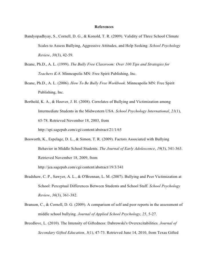 ReferencesBandyopadhyay, S., Cornell, D. G., & Konold, T. R. (2009). Validity of Three School Climate        Scales to Ass...