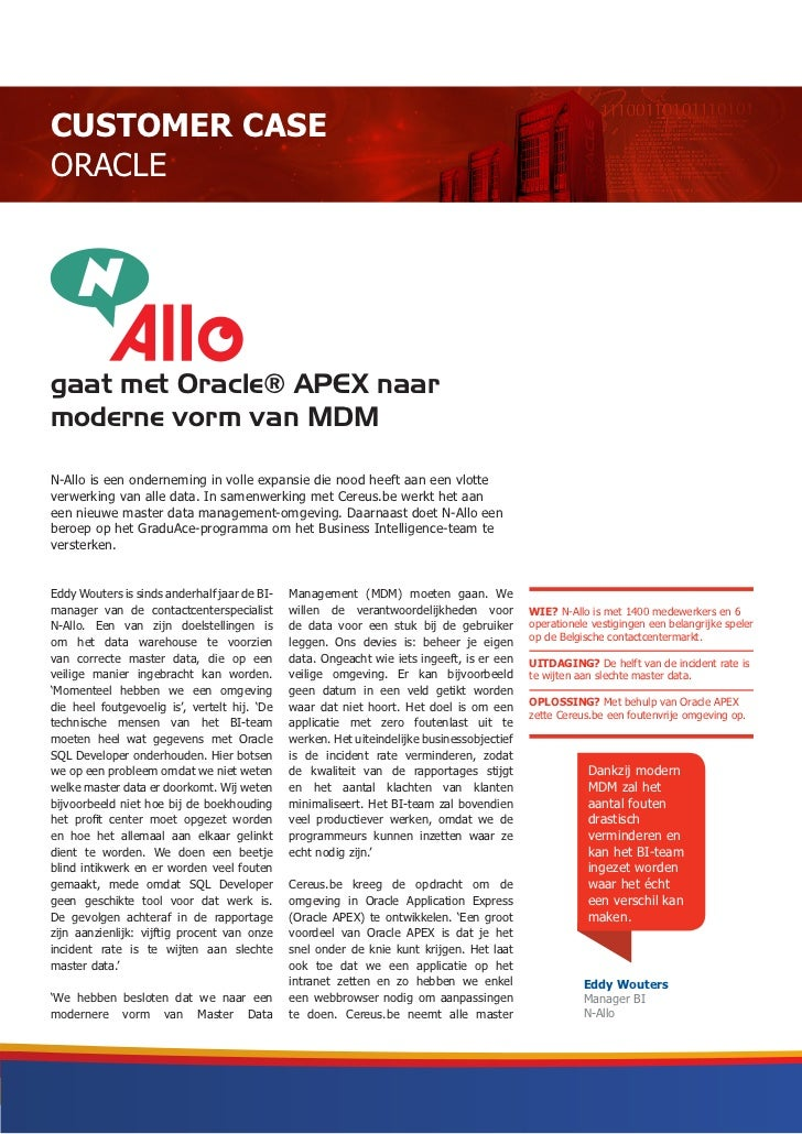 Customer Case Oracle - N-Allo