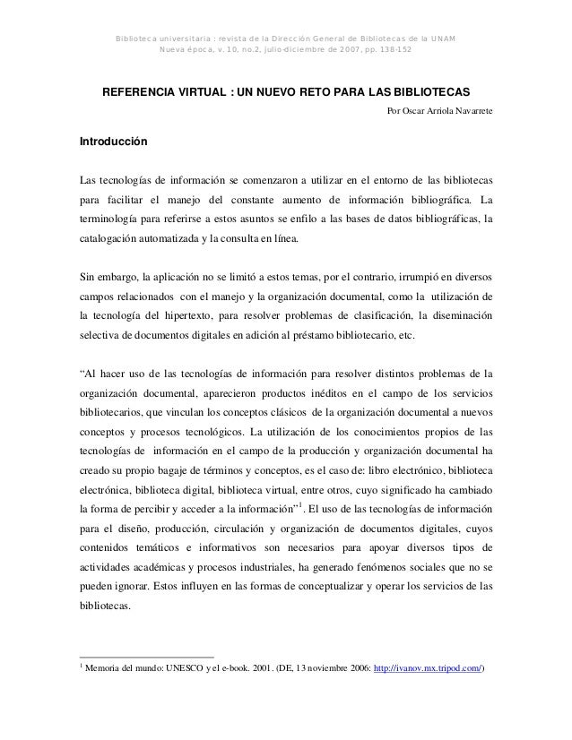 Biblioteca universitaria : revista de la Dirección General de Bibliotecas de la UNAM Nueva época, v. 10, no.2, julio-dicie...
