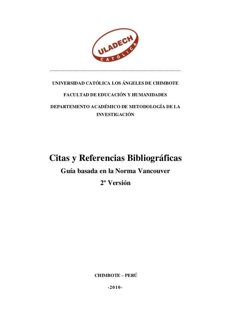 Referencias bibliograficas norma vancouver