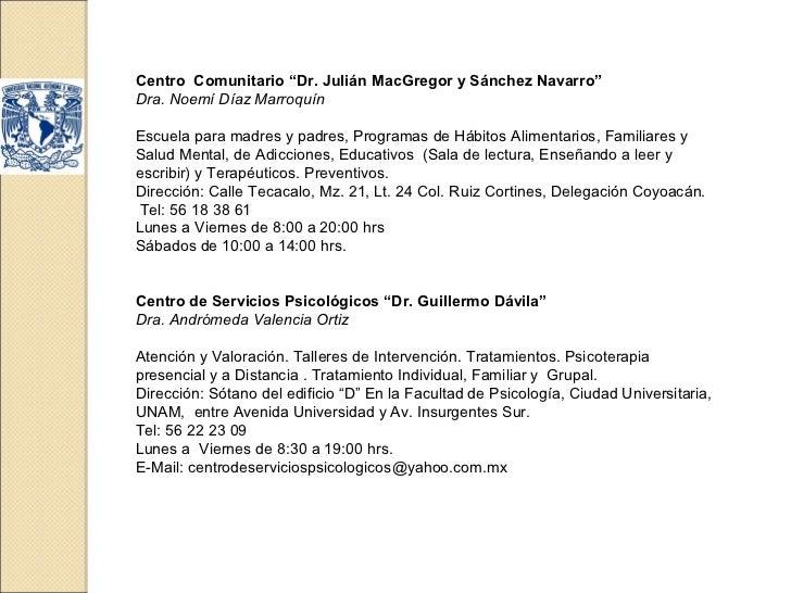 """Centro Comunitario """"Dr. Julián MacGregor y Sánchez Navarro""""Dra. Noemí Díaz MarroquínEscuela para madres y padres, Programa..."""