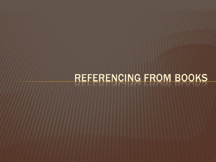 Referencing books