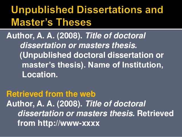 citing unpublished dissertations apa