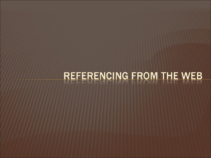 Referencing web