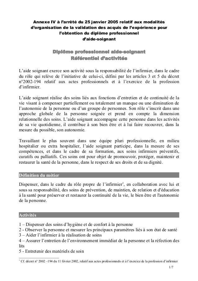 Annexe IV à l'arrêté du 25 janvier 2005 relatif aux modalités d'organisation de la validation des acquis de l'expérience p...