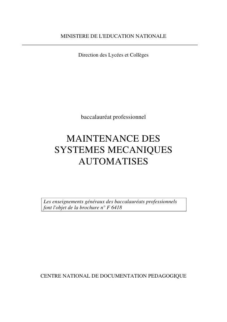 MINISTERE DE L'EDUCATION NATIONALE                  Direction des Lycées et Collèges                     baccalauréat prof...