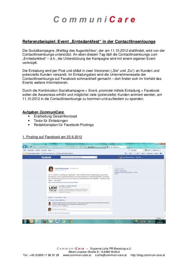 """Referenzbeispiel: Event """"Erntedankfest"""" in der ContactlinsenloungeDie Sozialkampagne """"Welttag des Augenlichtes"""", der am 11..."""