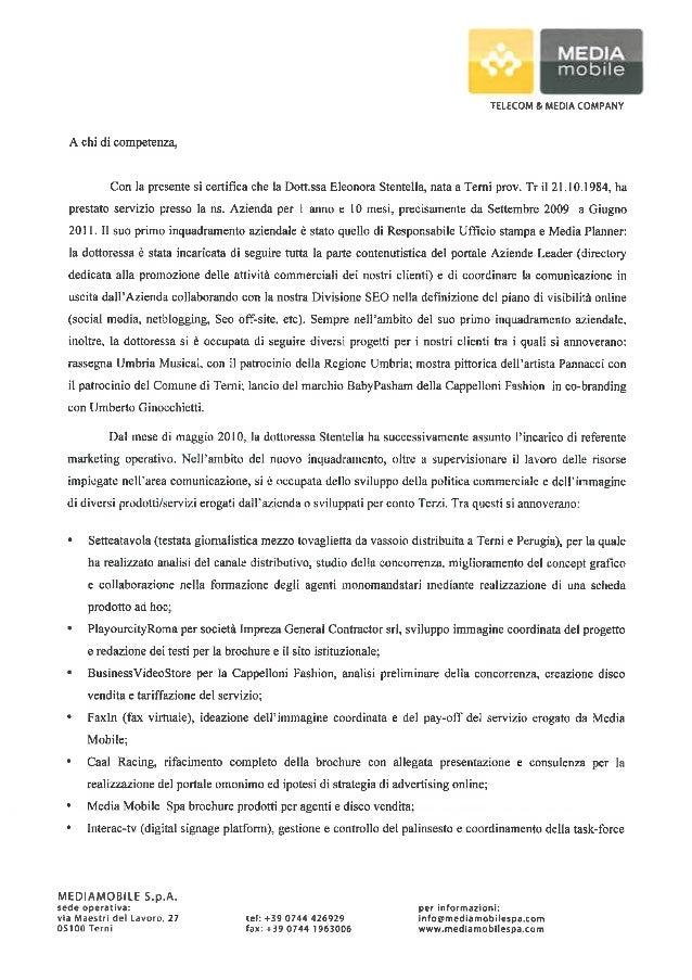 Reccomendation letter Media Mobile spa