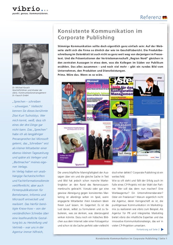 Referenz                                   Konsistente Kommunikation im                                   Corporate Publis...