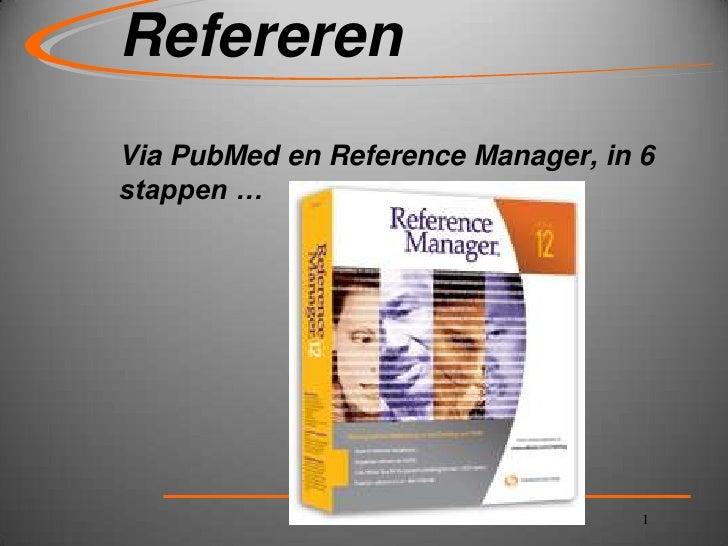 Refereren via reference manager