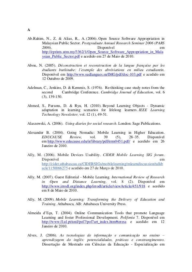 Referências  da tese: Apropriação do telemóvel como ferramenta de mediação em mobile learning