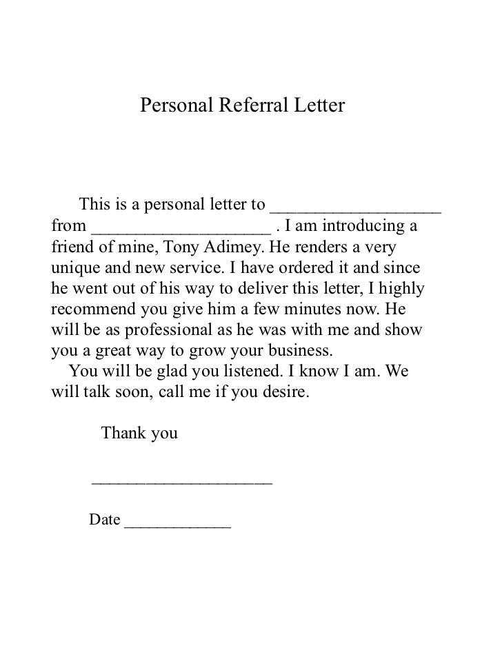 sample referral cover letters