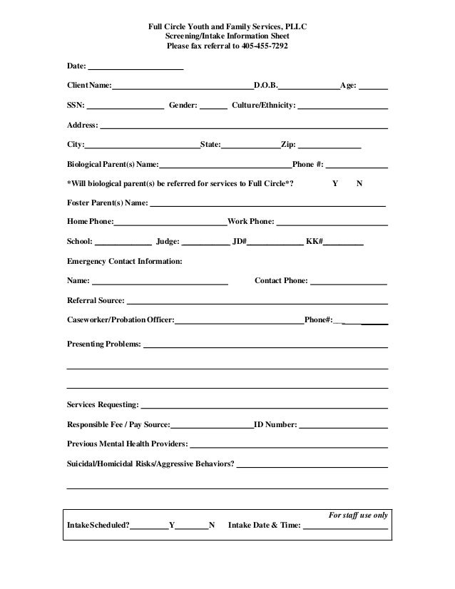 Psychotherapy Intake Form Template. this printable mental health ...