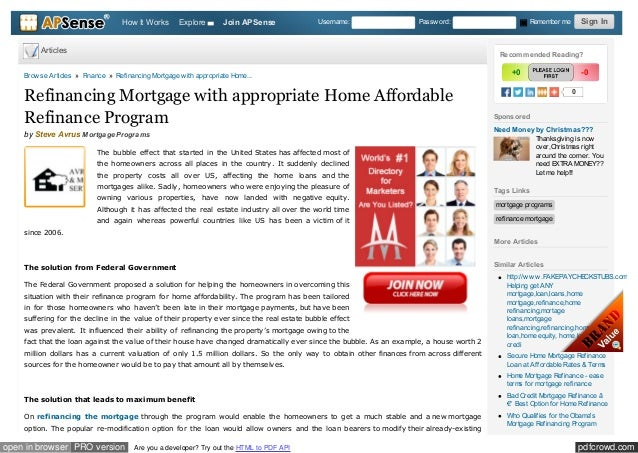 Refinancing Mortgage With Appropriate Home Affordable