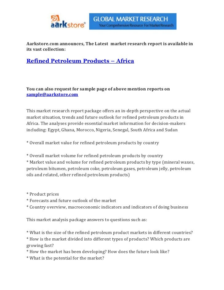 Refined petroleum products – africa