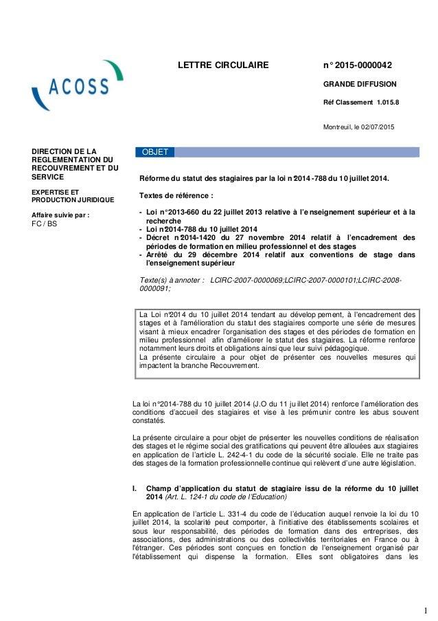 1 LETTRE CIRCULAIRE n° 2015-0000042 GRANDE DIFFUSION Réf Classement 1.015.8 Montreuil, le 02/07/2015 ¶ DIRECTION DE LA REG...