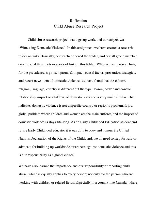 reflection paper on child abuse