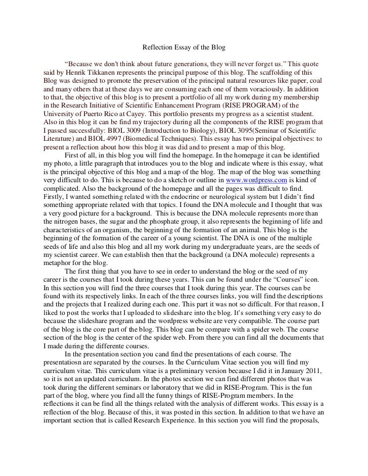 Merveilleux Internship Reflection Essay Reflection Essays Sample Reflective Essay  Example Reflection