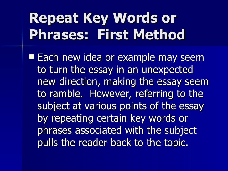 Essay Writing Key Words