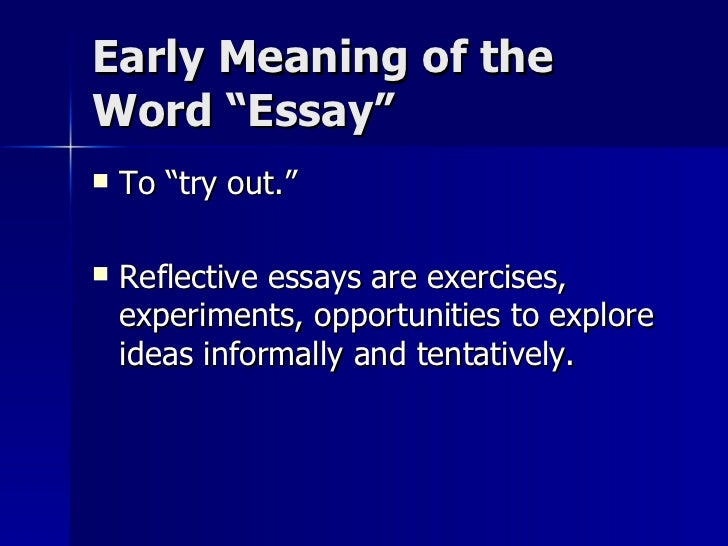 meaning of essays