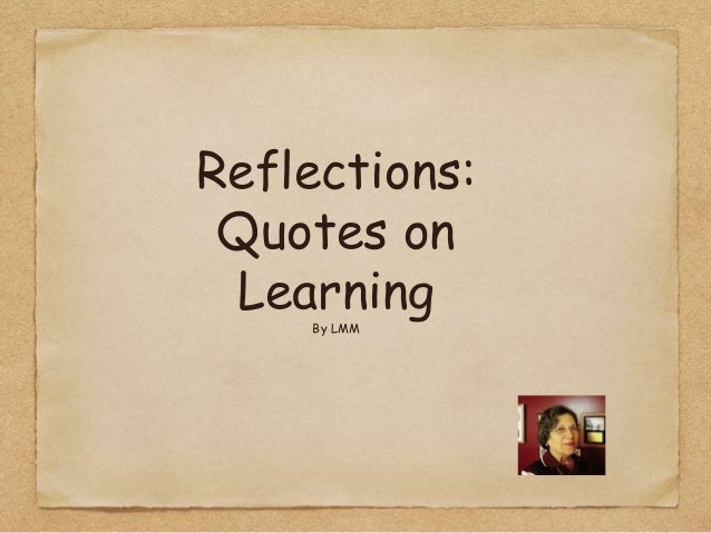 essays on reflection on learning