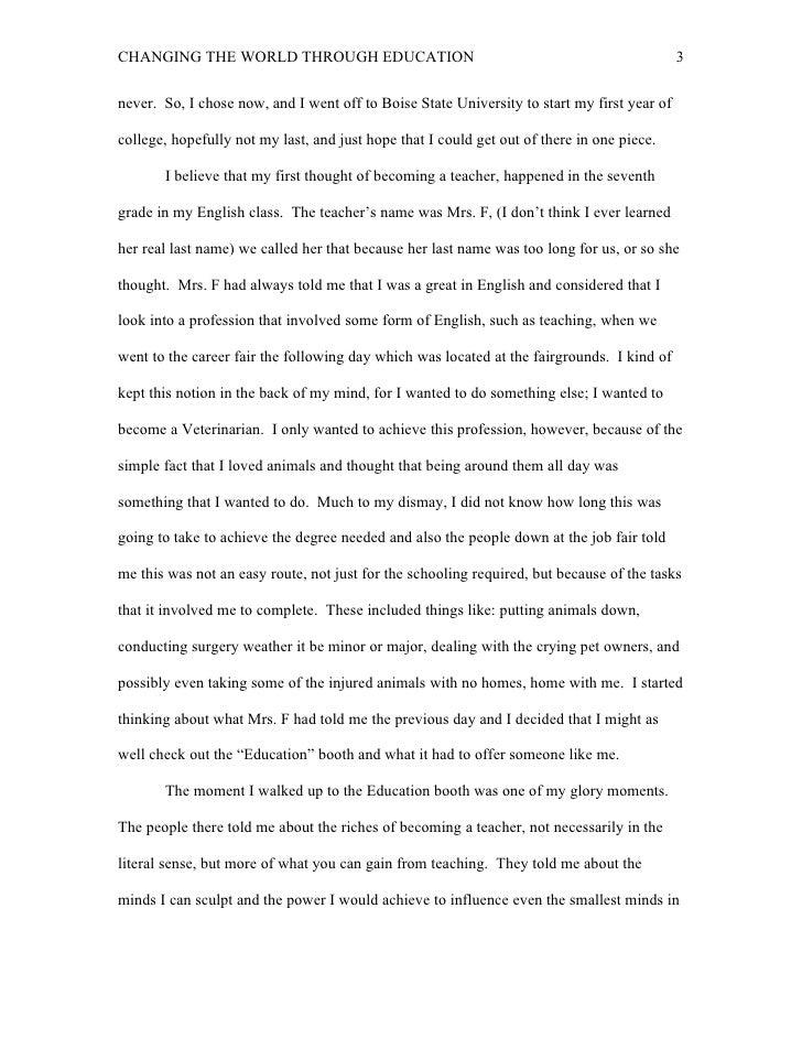 Self reflection essay?