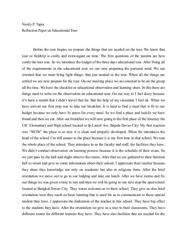 Help me to writing an essay reflection after