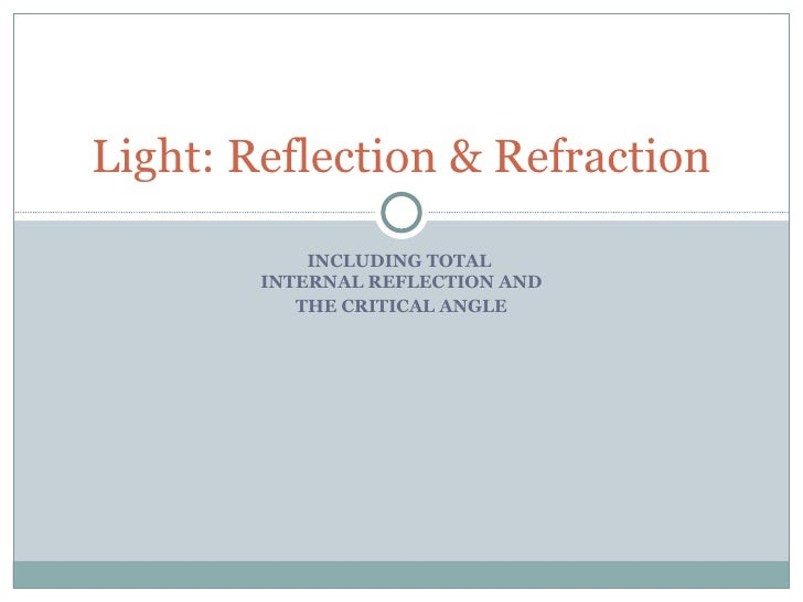 INCLUDING TOTAL  INTERNAL REFLECTION AND THE CRITICAL ANGLE Light: Reflection & Refraction