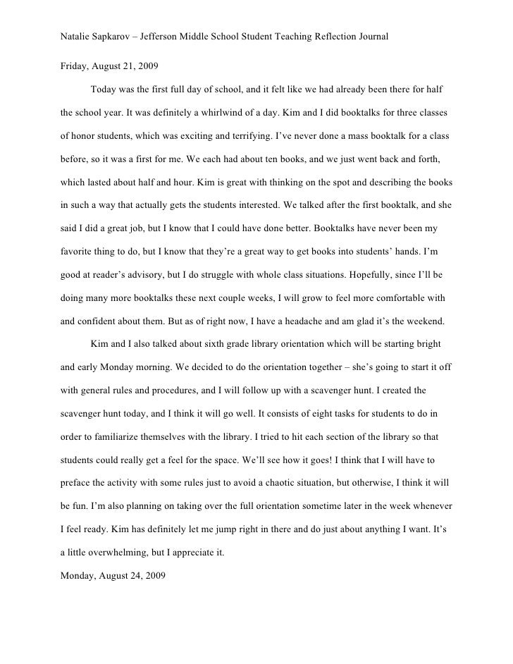 Natalie Sapkarov – Jefferson Middle School Student Teaching Reflection Journal   Friday, August 21, 2009         Today was...