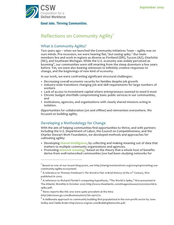 Reflections On Community Agility