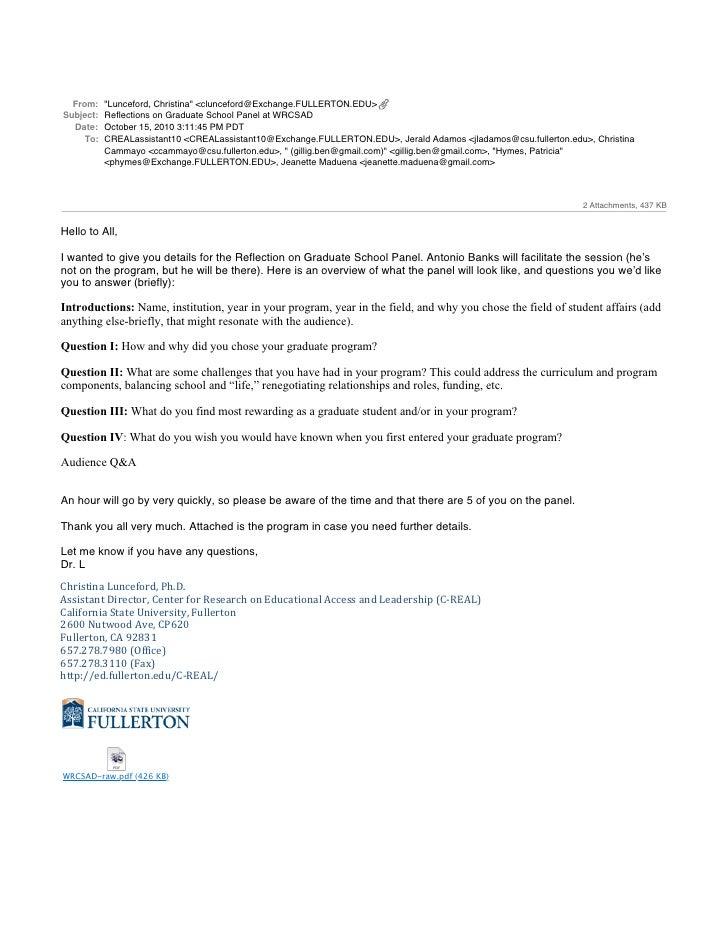 Reflections on graduate school panel at wrcsad