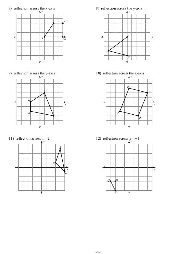 Printables Reflections Worksheet Geometry free geometry reflection worksheets coordinate math plane matrix iii