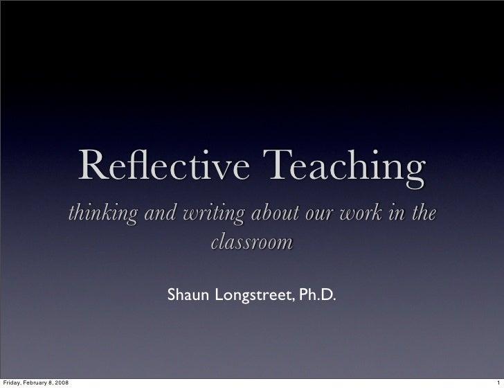 Reflective Teaching Workshop