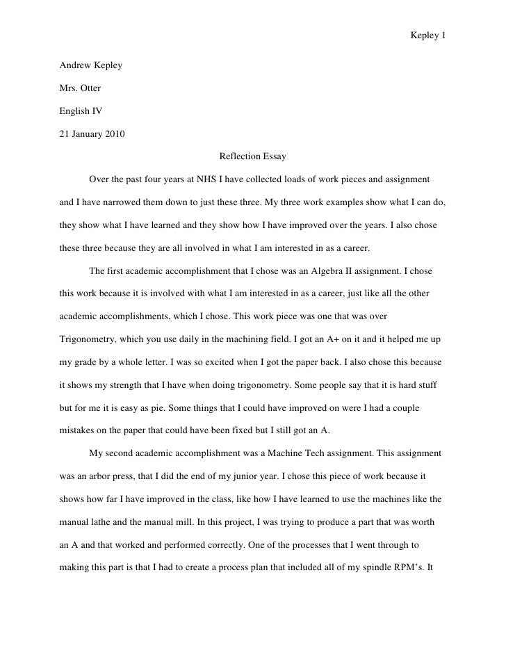 reflective essay outline example Writing a personal reflective essay  you must reflect on your experience and really outline how you have changed as a person and how your life has  for example.
