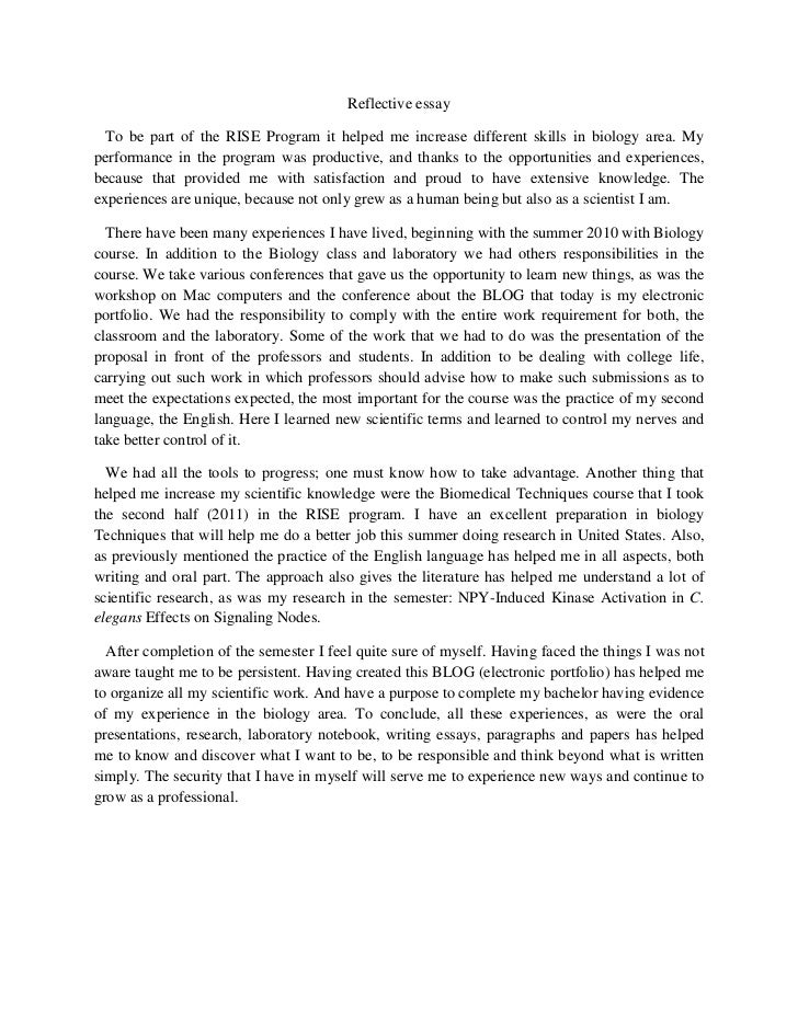 reflective essay of english class Answer to this is a reflection of my writing for the semester to be included in i went on to use this in my final essay as well my final essay for this class.