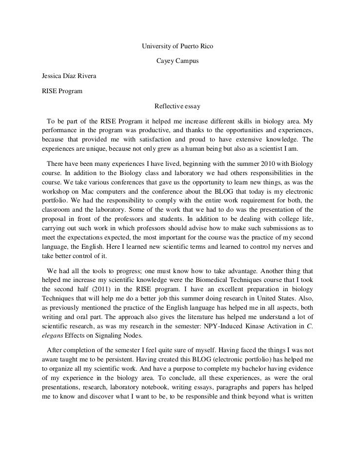 reflective essay on english class - Examples Of Self Reflection Essay