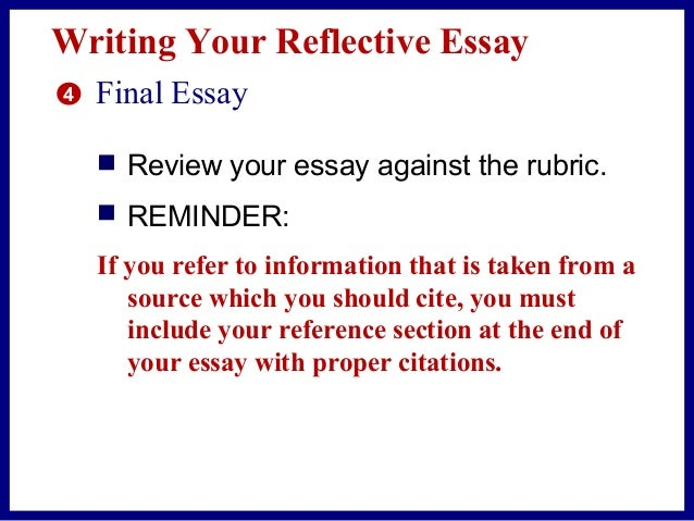 how many references for a reflective essay Reflective essays eric hallman multiple references for each essay, you must follow closely the assigned questions, unless you have proposed an.