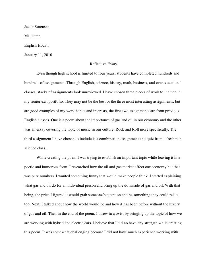 High school reflective essay