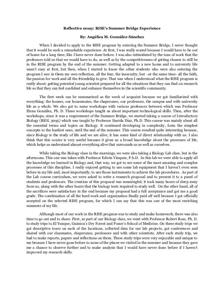 How to srtart a reflection english essay