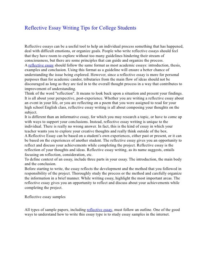 reflection page essay Meant to illustrate your understanding of the material studied over the course of a class, a reflection paper shows how those readings affected your current ideas and possible future philosophies writing a reflection paper is more about you than it is the pieces studied or discussions that took .