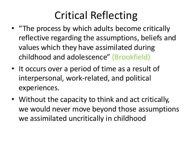 critical reflection on three questions essay