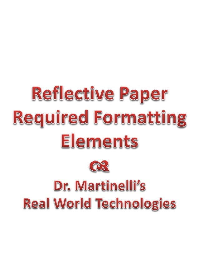 Reflective paper formatting requirements