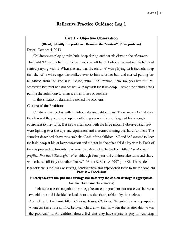 Reflection Essays Sample