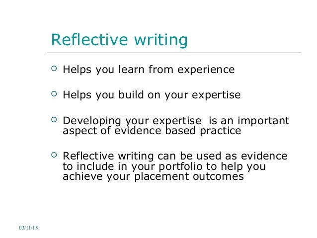 reflective report on learning in work placement We will write a custom essay sample on work experience reflection specifically  for  since i really enjoy learning about economics and mathematics in school,.
