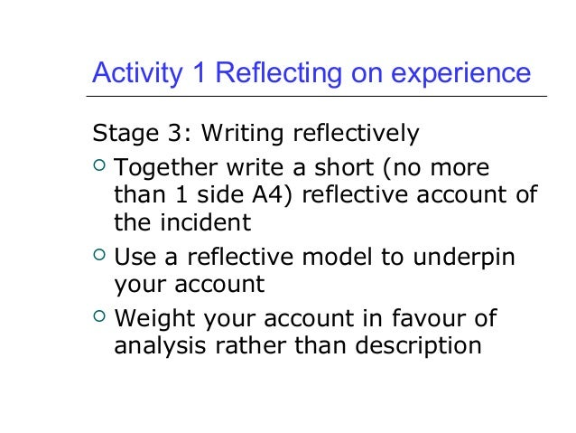 reflective account of a literature search The university of reading is a global university that enjoys a world-class reputation for teaching literature reviews practice-based and reflective learning.