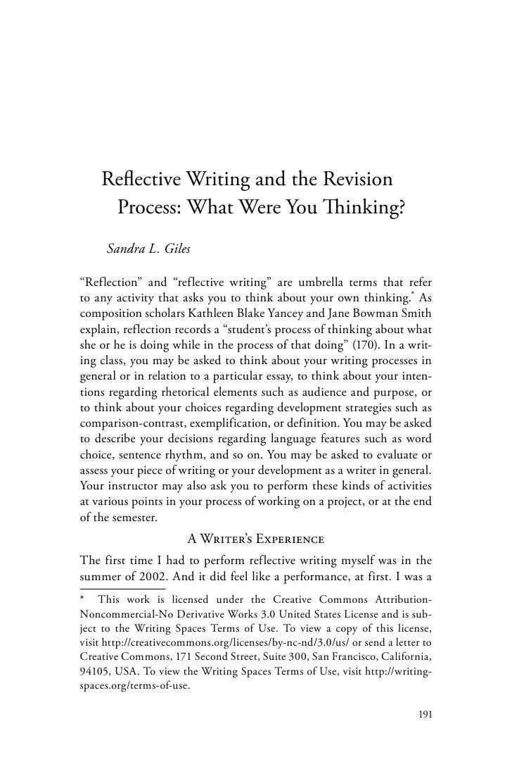 Reflective essay on writing process