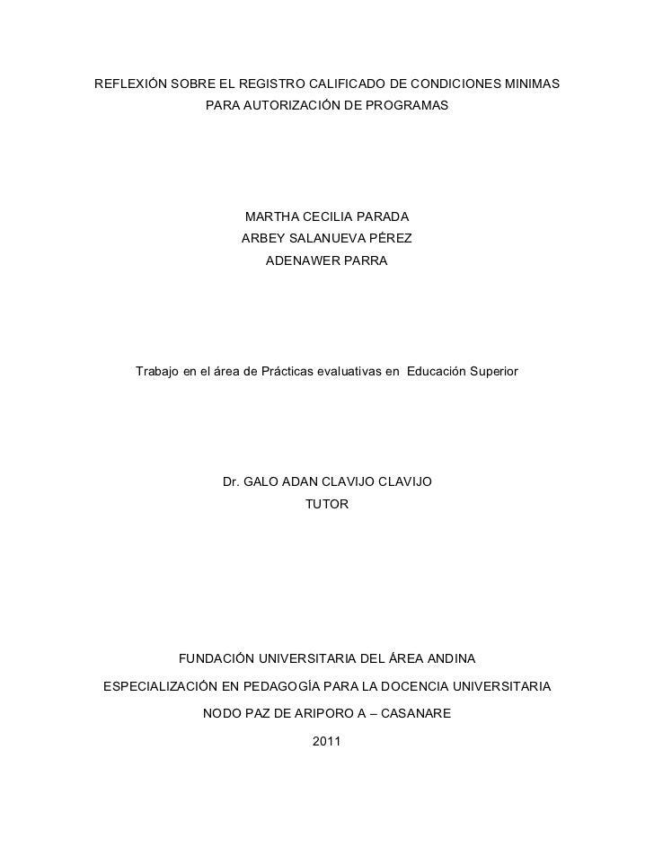 REFLEXIÓN SOBRE EL REGISTRO CALIFICADO DE CONDICIONES MINIMAS                PARA AUTORIZACIÓN DE PROGRAMAS               ...