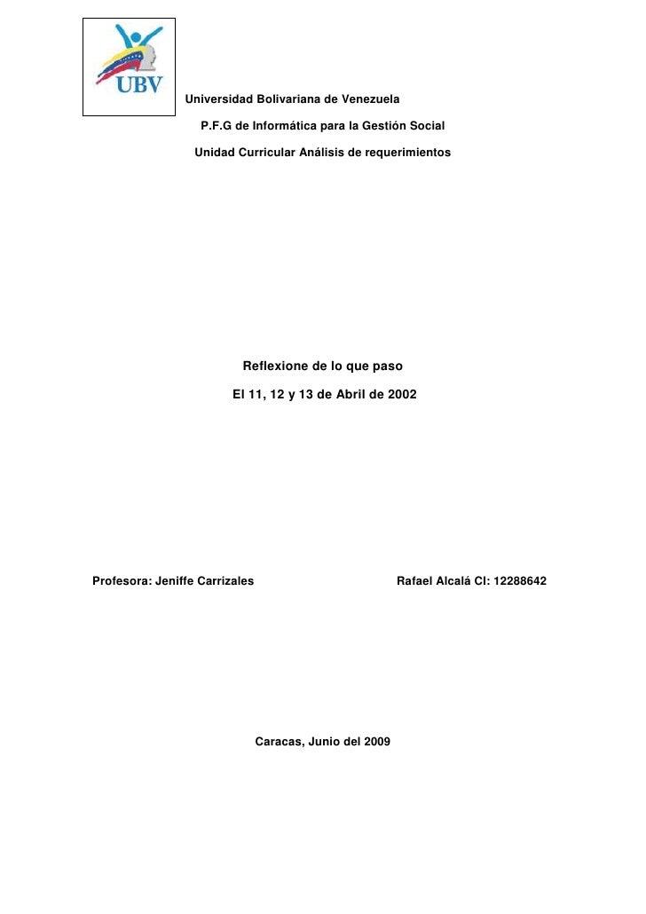 Universidad Bolivariana de Venezuela<br />P.F.G de Informática para la Gestión Social<br />Unidad Curricular Análisis de r...