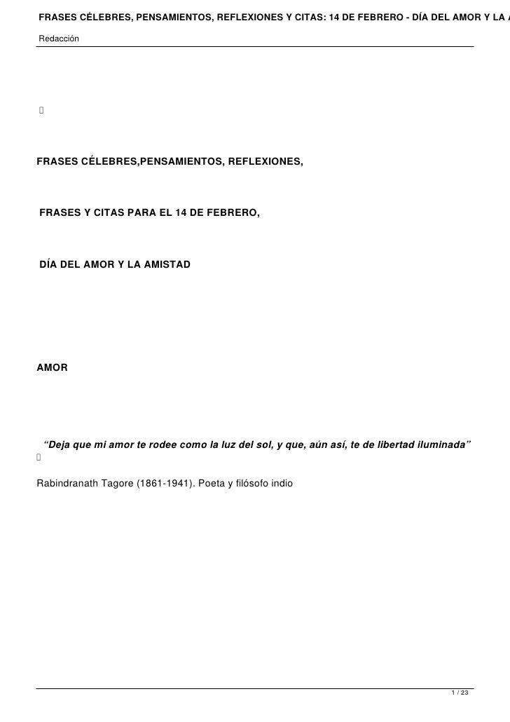 FRASES CÉLEBRES, PENSAMIENTOS, REFLEXIONES Y CITAS: 14 DE FEBRERO - DÍA DEL AMOR Y LA ARedacción    FRASES CÉLEBRES,PENSA...