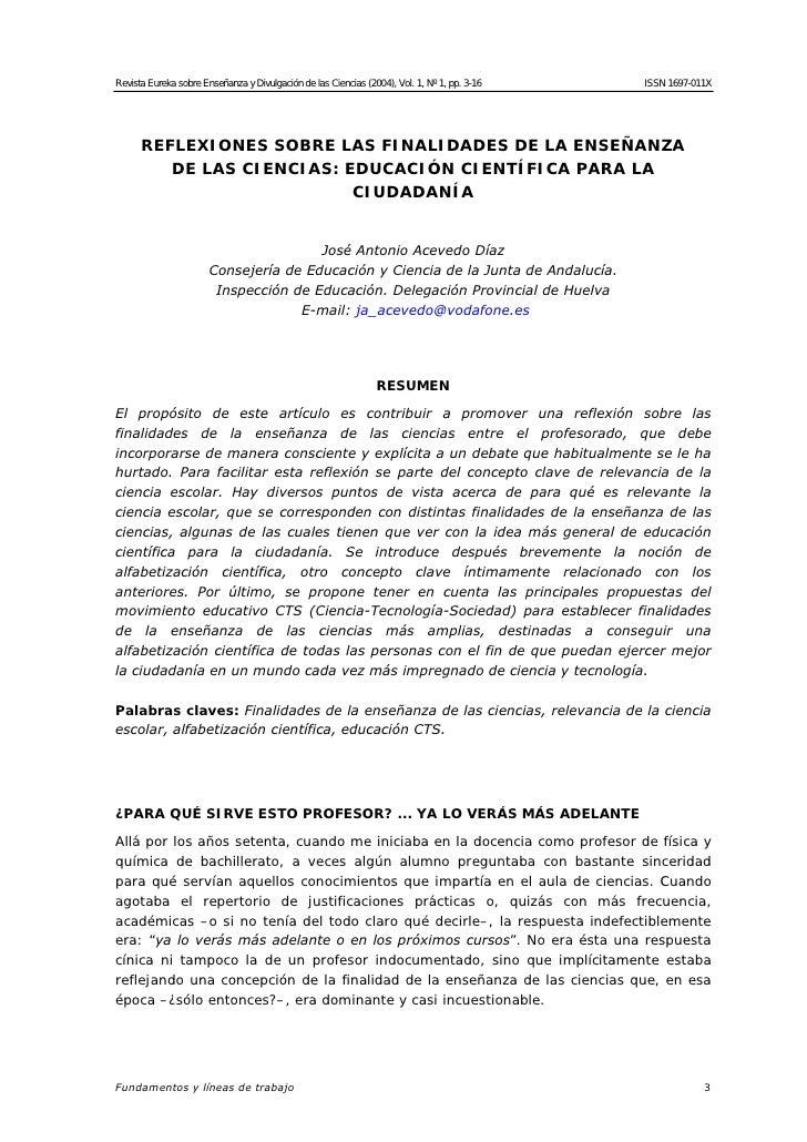 Revista Eureka sobre Enseñanza y Divulgación de las Ciencias (2004), Vol. 1, Nº 1, pp. 3-16   ISSN 1697-011X           REF...